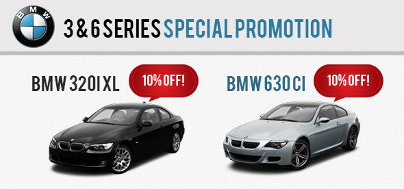 10% Discount For BMW 3 Series and BMW 6 Series Sedan