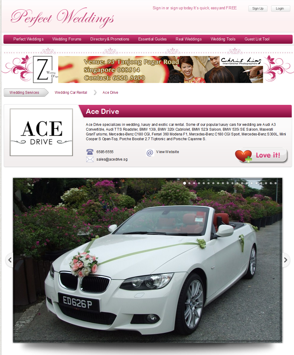 Ace Drive Featured at Perfect Weddings Forum Singapore