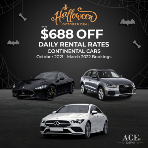 Halloween October Deal: Up to $688 Off Daily Rental Rates Continental Cars October 2021 - March 2022 Bookings